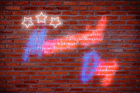 Happy Memorial Day greeting card, National american holiday. Memorial day background with red and blue neon night light letters and star on brick wall background in retro style.