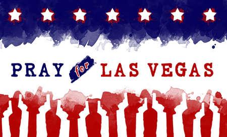 nevada: pray for America. text pray for las vegas on America flag. gun control campaign Stock Photo