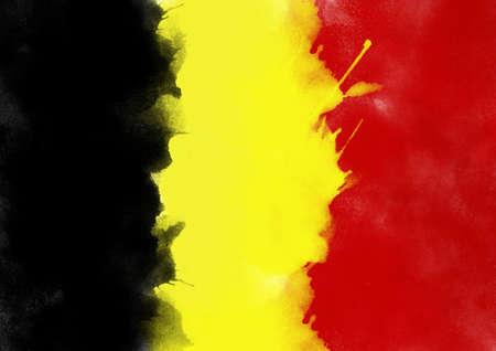drapeau coloré de la Belgique de l'aquarelle, style grunge Banque d'images