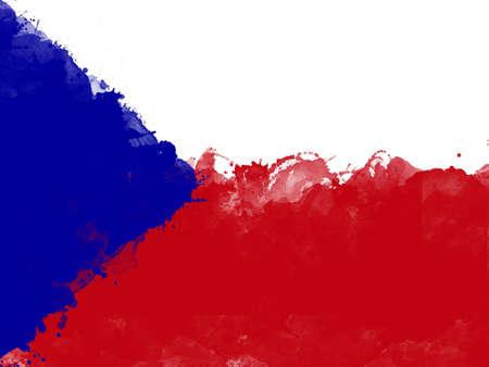 Flagge der Tschechischen Republik durch Aquarellpinsel, Schmutzart Standard-Bild - 88120533