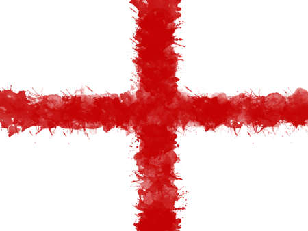 Flag of England by watercolor paint brush, grunge style Stock Photo