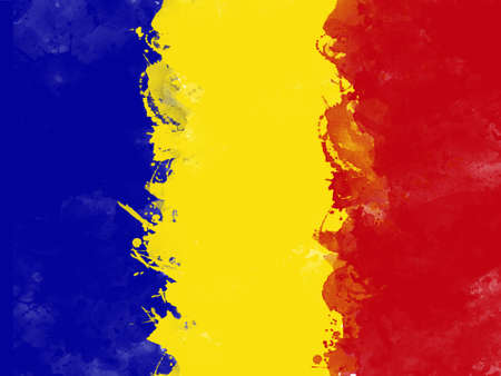 Flag of Romania by watercolor paint brush, grunge style Stock Photo