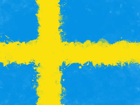 Flag of Sweden by watercolor paint brush, grunge style Stock Photo