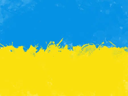 Flag of Ukraine by watercolor paint brush, grunge style
