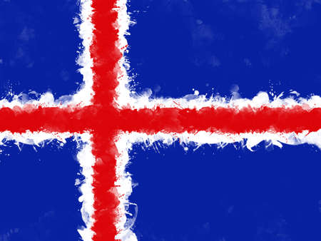 Flag of Iceland by watercolor paint brush, grunge style