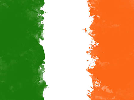 Flag of Ireland by watercolor paint brush, grunge style