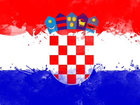 Flag of Croatia by watercolor paint brush, grunge style Stock Photo