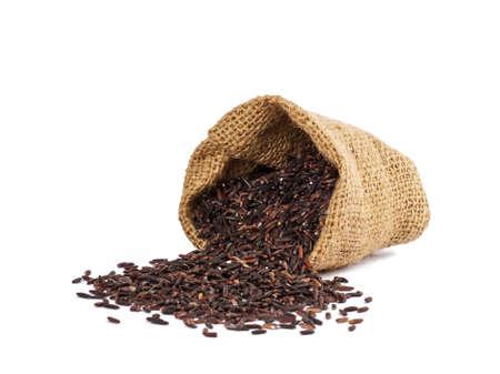태국어 쌀 베리의 근접 촬영 세부 정보, riceberry는 어두운 바이올렛 곡물 및 태국어 동성 말리 쌀을 소행량 교차 unmilled 쌀입니다