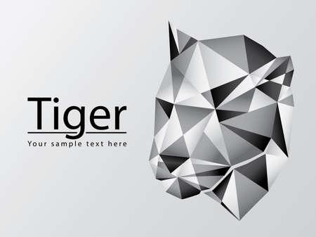 Silhouette of tiger head polygonal Illustration