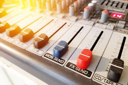 Volume control audio adjustment tool - equipment for mix music sound effect for studio and concert. film effect Stock Photo
