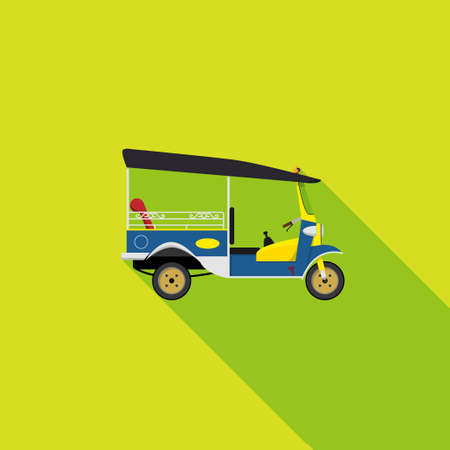 vector EPS10. tuk tuk is a local taxi vehicle with three wheels. ride tuk tuk is most popular activity for tourist in Bangkok for sightseeing attraction. isolated flat vector Illustration