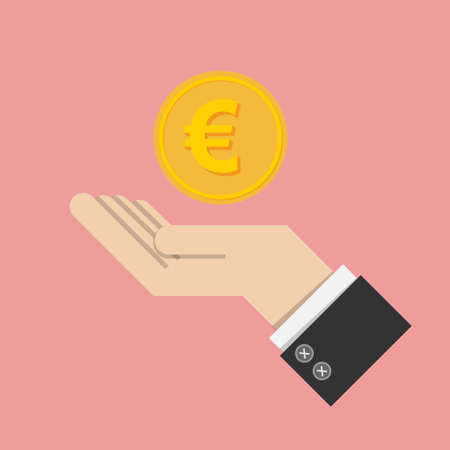 euromoney: vector illustrator. return of an investment concept. gold coin with sign of Euro money currency on hand, palm of businessman. invest growth,finance plan, personal management, investment portfolio.