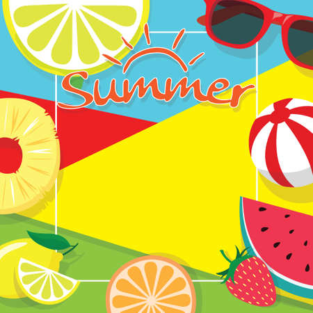 colorful summer theme background copy space template banner with pieces of tropical fruit beach ball and sunglasses. vector summer background for banner, poster, flyer, card, postcard, cover, brochure