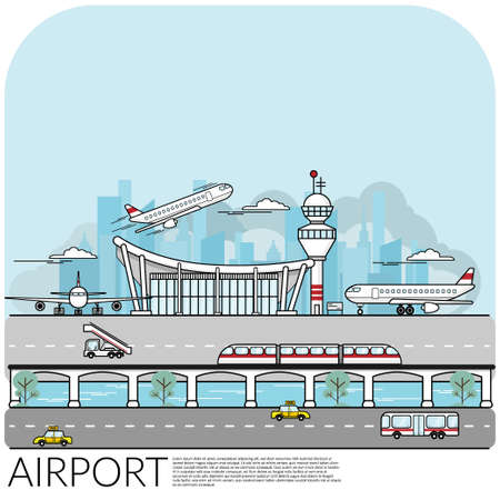 simple vector illustration of busy airport  terminal with airplane take off , landing and parking include transportation around the airport. travel concept, flat design EPS10 vector illustration. Illustration