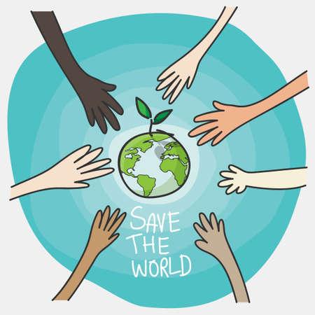 giornata mondiale dell'ambiente e concetto di ambiente sostenibile. mani di persone volontarie che piantano globo verde e albero per salvare l'ambiente, la conservazione della natura e la responsabilità sociale delle imprese csr