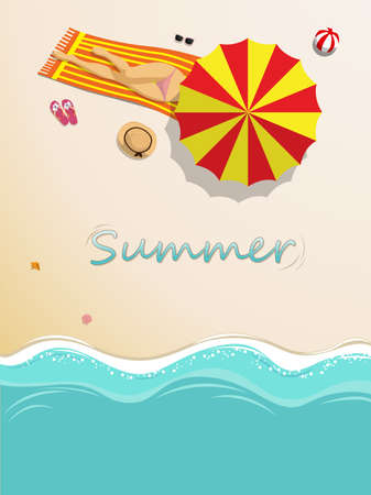 vector illustration. sexy girl in bikini sunbathing on the beach with beach umbrella and beach fashion accessory at tropical country in summer season. summer background concept  イラスト・ベクター素材
