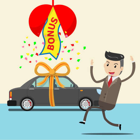 happy employee receive new car as surprise bonus or gift from boss, company. businessman or seller who success in selling , good works and making high sales. bonus concept. vector illustration ESP10