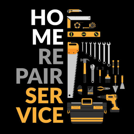 home repair service template with set of DIY home repair working tools. home repair service consulting, renovation