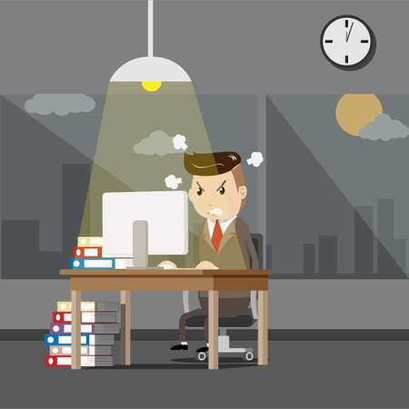 serious boss. senior businessman sitting at his desk with angry face. business man working at the office until night time with stress from overwork. overtime work Stock Illustratie