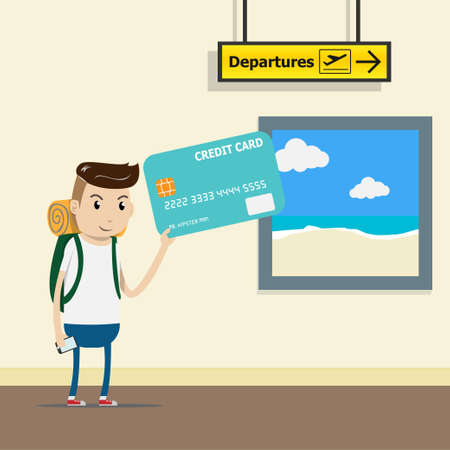 tourist with backpack at the airport terminal with credit card in hand. comfortable payment by credit card concept. easy spending. vector illustration