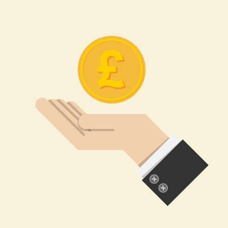 vector. return of an investment concept. gold coin with sign of British pound sterling currency on hand, palm of businessman. invest growth,finance plan, personal management, investment portfolio. Ilustração Vetorial