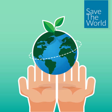 human hands holding Earth, save the world concept. people's volunteer hands planting green globe and tree for saving environment nature conservation and csr corporate social responsibility