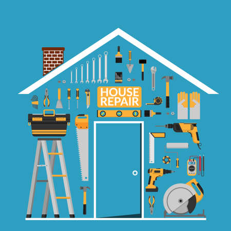 set of DIY home repair working tools vector logo design template under roof in home shape. home repair banner, construction , repair icons. hand tools for home renovation & construction. flat design