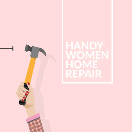 woman using hammer and nail on the wall isolated on pink background. do it yourself home repair by woman concept. vector illustration with copy space , flat design