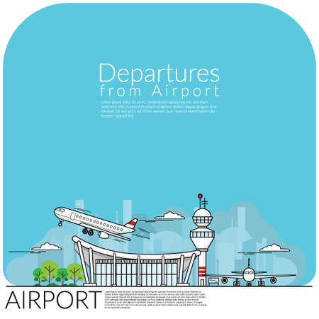 simple vector illustration of airplane take off for departures from airport terminal and airplane parking at airfield. travel concept, flat design vector illustration.
