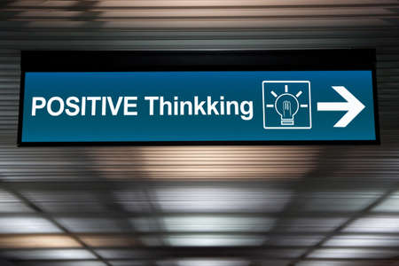 think positive concept. sign positive thinking with lightbulb icon and arrow for direction. Imagens