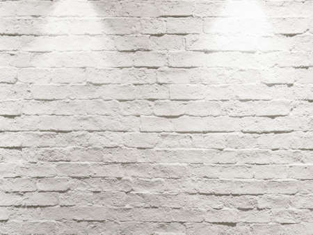 abstract empty weathered textured white brick wall background with two halogen lamps on top as spotlight