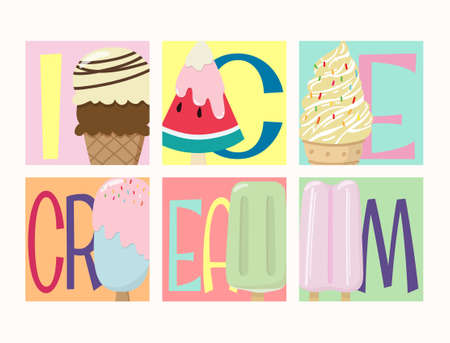 set of creative vector tasty colorful ice cream collection with many flavor illustrations with text icecream isolated on colorful background