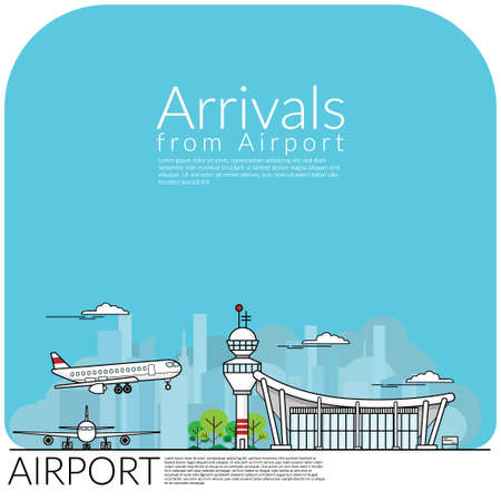 simply vector illustration of airplane landing for arrival from airport terminal and airplane parking at airfield. travel concept, flat design EPS10 vector illustration.