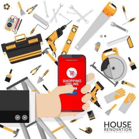 Heimwerkzeuge isoliert auf weißem Hintergrund für Online-Shop. Geschäftsmann mit Handy in der Hand, der die Anwendung zum Online-Shopping von Reparaturwerkzeugen über die Website des Werkzeugladens verwendet Vektorgrafik