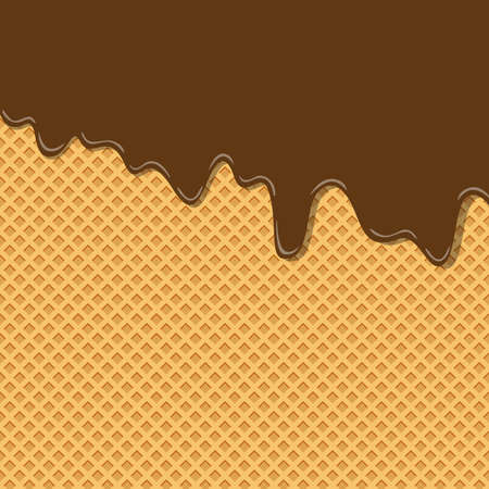 bittersüße Kakao-Schokoladen-Sahne-Geschmack-Eiscreme-Texturschicht auf Wafer-Hintergrundmustertapete geschmolzen. Vektor-Illustration. ausdrucksstarker kreativer Pastell- und Minimalismushintergrund mit Kopienraum
