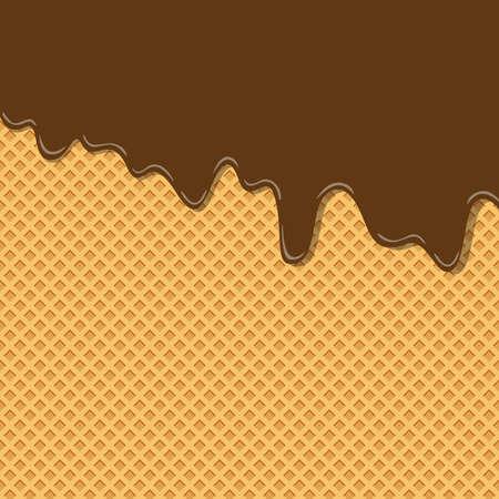 Couche de texture de crème glacée de saveur de crème de chocolat de cacao doux amer fondue sur le papier peint de modèle de fond de gaufrette. illustration vectorielle. pastels créatifs percutants et arrière-plan minimalisme avec espace de copie