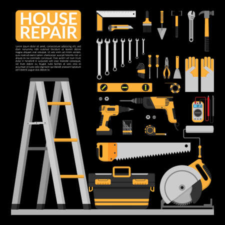 set of DIY home repair working tools vector logo design template. home repair banner, construction , repair icons. hand tools for home renovation & construction. flat design, vector illustration Ilustração