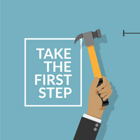 man using hammer and nail on the wall isolated on blue background with text take the first step. do it yourself home repair by man concept. vector illustration EPS10 with copy space , flat design