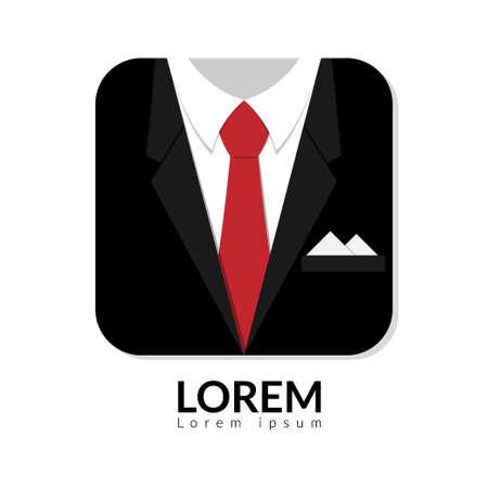 Ilustración vectorial de traje de hombre negro con corbata roja y camisa blanca aislada sobre fondo blanco. hombre de negocios en traje logo con espacio de copia, hombre en traje