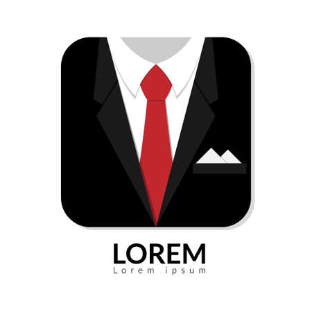 vector illustration of black man suit with red tie and white shirt isolated on white background. business man in suit logo with copy space, man in suit Ilustração