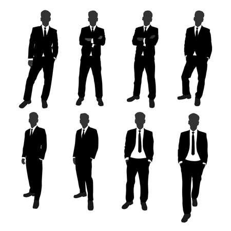Vektor-Set von Stand Geschäftsmann Silhouette Ganzkörper. Geschäftsmann mit verschiedenen Posing-Aktionen