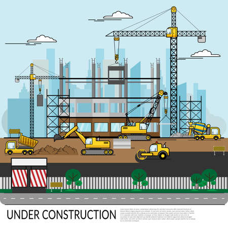 vector of busy construction site with workers , truck , crane and heavy equipment working on building structure with city view at background. construction infographics Ilustracja