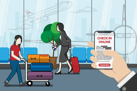 businessman as passenger using application for check in online at the airport. technology for travel concept. vector illustrator flat design Illustration