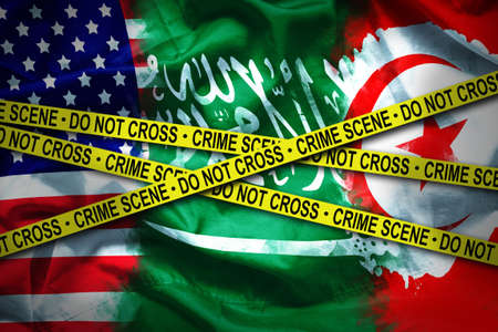 flags for 3 countries connected crime scene. case of murdered Saudi journalist who refuge in United state of america was kill in embassy Saudi Arabia in Turkey country