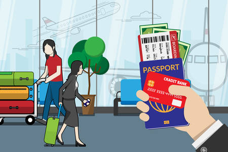 business man holding passport, boarding pass , pocket money and credit card, prepare for travel with luggage and airport terminal at background. vector illustration flat design