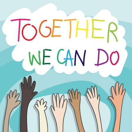 Teamwork-Konzept. Zeichnen von Cartoon von Menschen, die die Hände einzeln auf blauem Hintergrund mit Farbverlauf mit Kopienraum und Text heben, den wir zusammen tun können. Vektor-Illustration