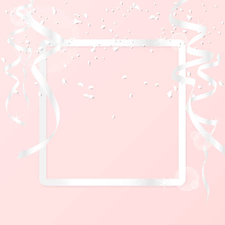 greeting card background with luxury silver border frame and decoration with silver ribbon and glitter isolated on pink background. vector illustration