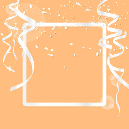 greeting card background with luxury silver border frame and decoration with silver ribbon and glitter isolated on orange background. vector illustration