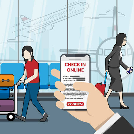 businessman as passenger using application for check in online at the airport. technology for travel concept. vector illustrator flat design