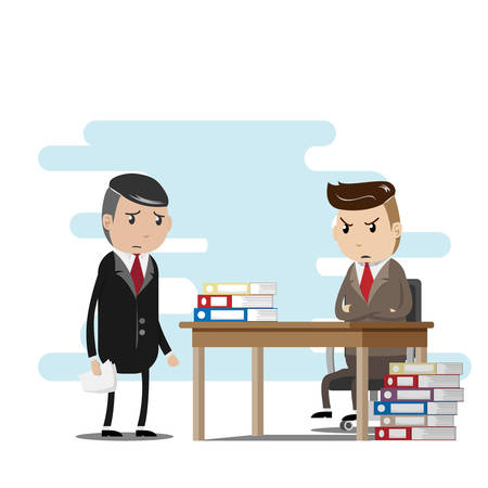 stress work concept. employees are worried about sending jobs to the serious boss. vector illustration  イラスト・ベクター素材